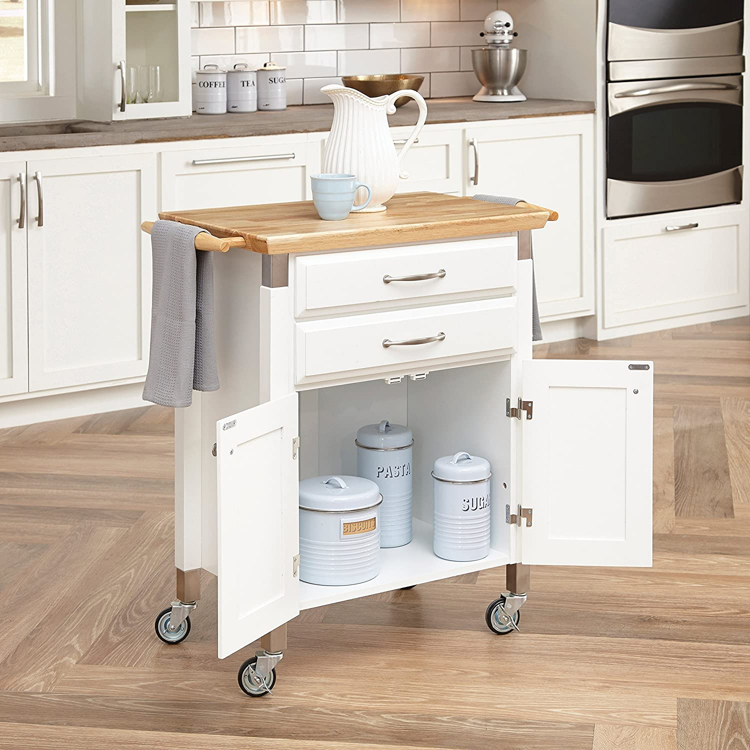 Amazon com home styles 4509 95 dolly madison prep and serve cart white finish kitchen dining