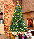 LUTER 7.5 Ft Artificial Christmas Tree Spruce Hinged Xmas Tree Christmas Decorations for Indoor and Outdoor Easy Assembly 1250 Branch with Metal Stand(Green)