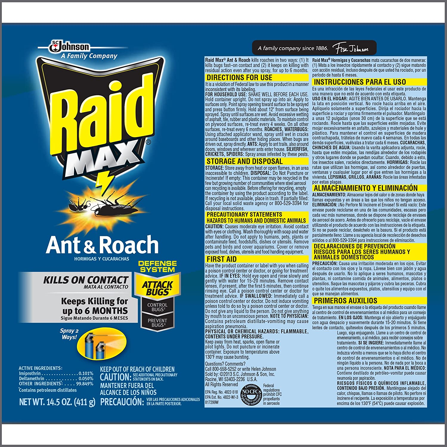 Amazon.com : Raid Max Ant & Roach, 14.5oz, Pack of 6 : Roach Spray ...