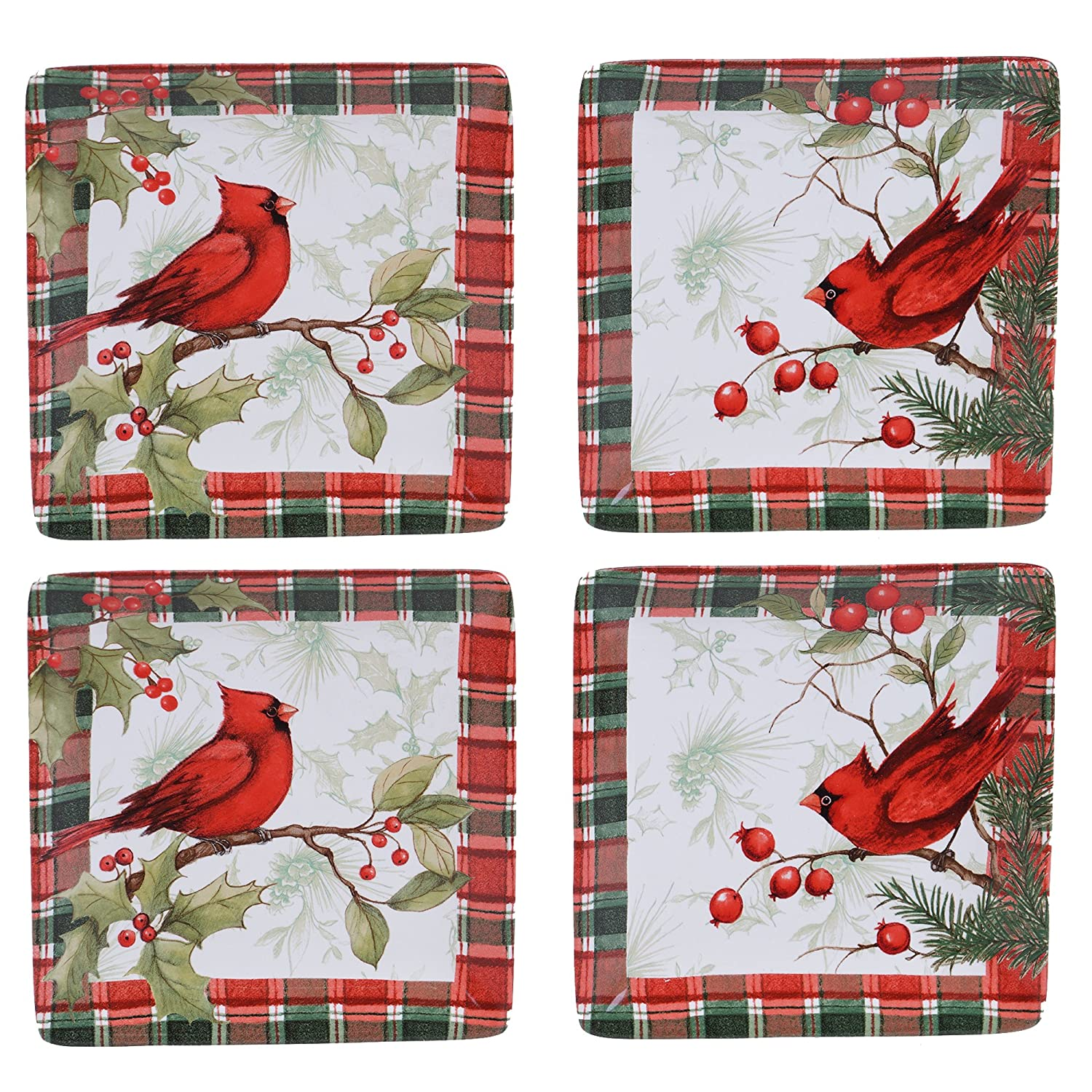 Set of 4 Certified International Winter Field Notes  6 Canape Plates 2 Assorted Designs