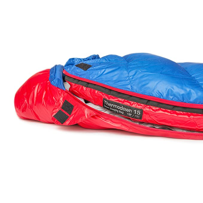 Paria Outdoor Products Saco de Dormir Tipo Momia Thermodown, a 15 Grados - Clima frío Ultraligero, Bolsa para 3 Estaciones Camping y Viajes de mochileros ...
