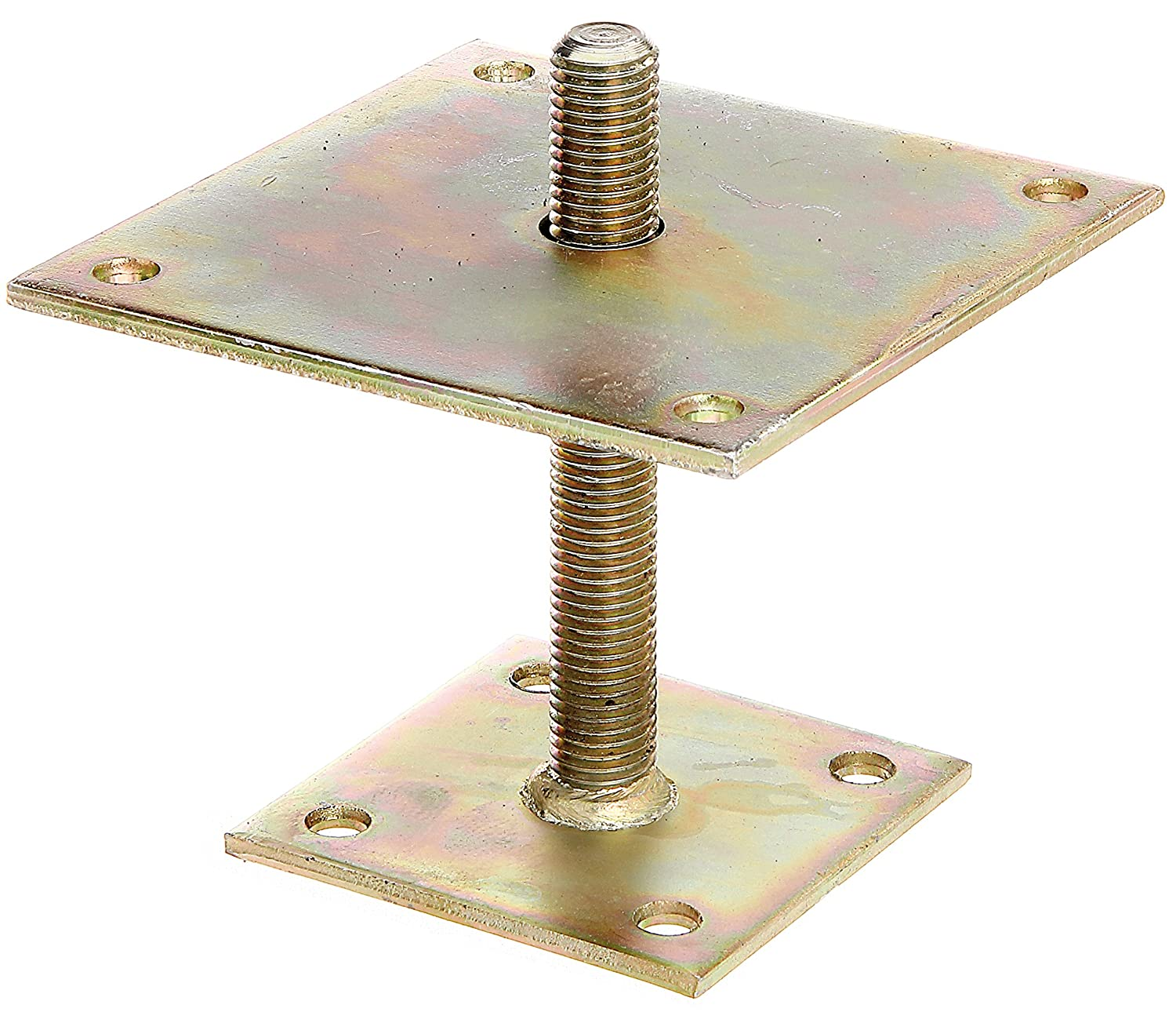 I Post Support Height-Adjustable 30 to 150 mm Yellow-Galvanised Screw-In 70 x 70 mm