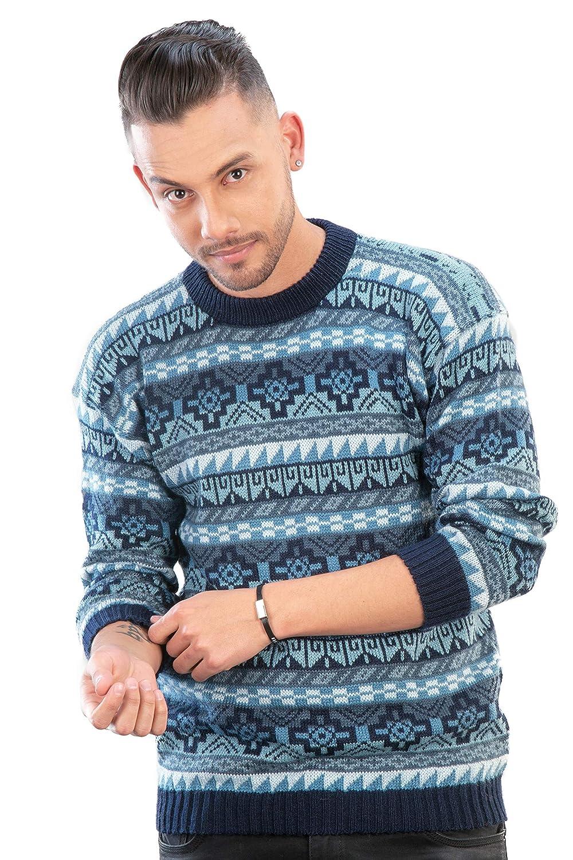 Maglione Girocollo Blu Alpaca con Motivo chakana da Uomo Intialpaca