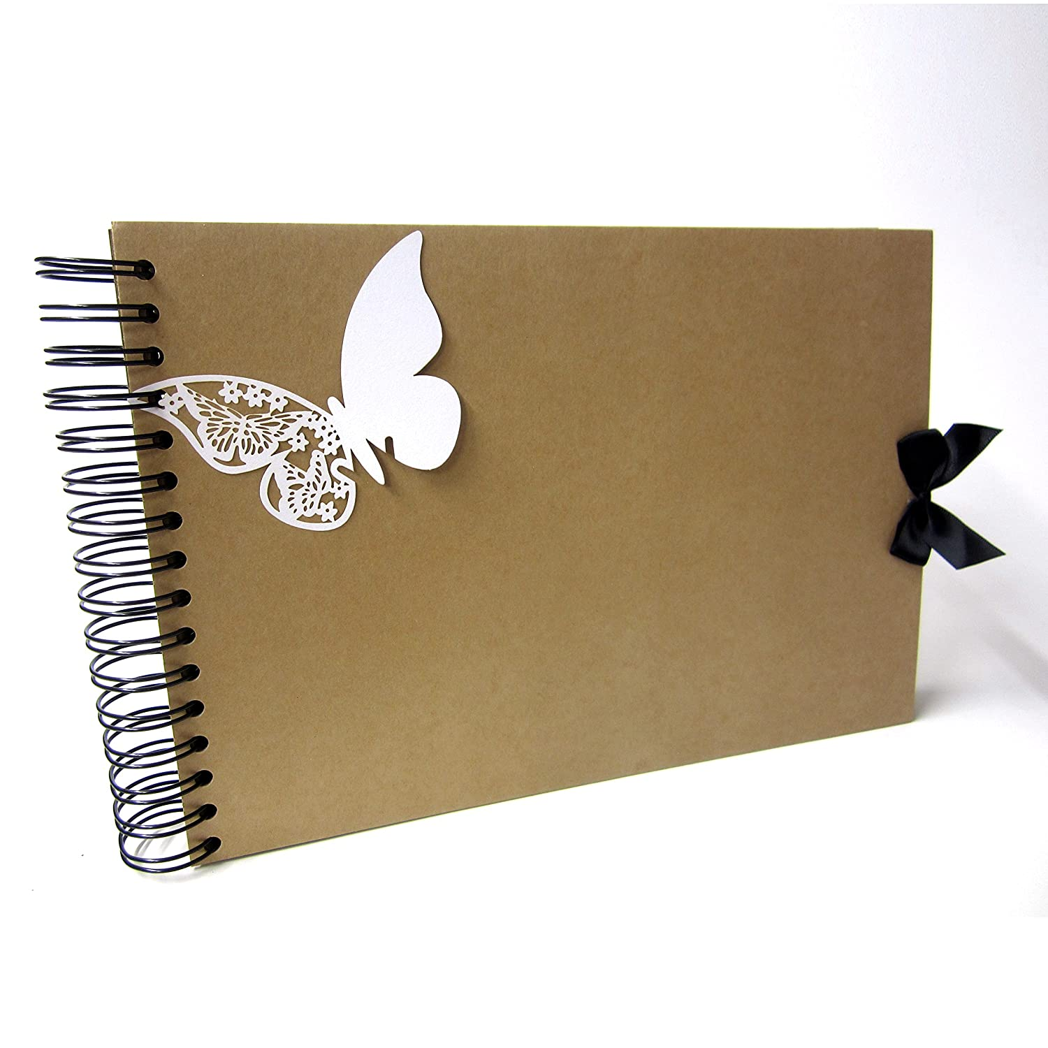 A4 Butterfly Scrapbook, Photo Album, Guestbook, Memory Keepsake, Blank Crafting (A4 (White Pages)) Scrapbook Wonderland