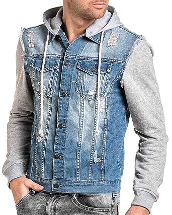 Délavé Couleur Veste Jeans Gris Et Blz Jean Sweat En Bleu L54Rq3Aj