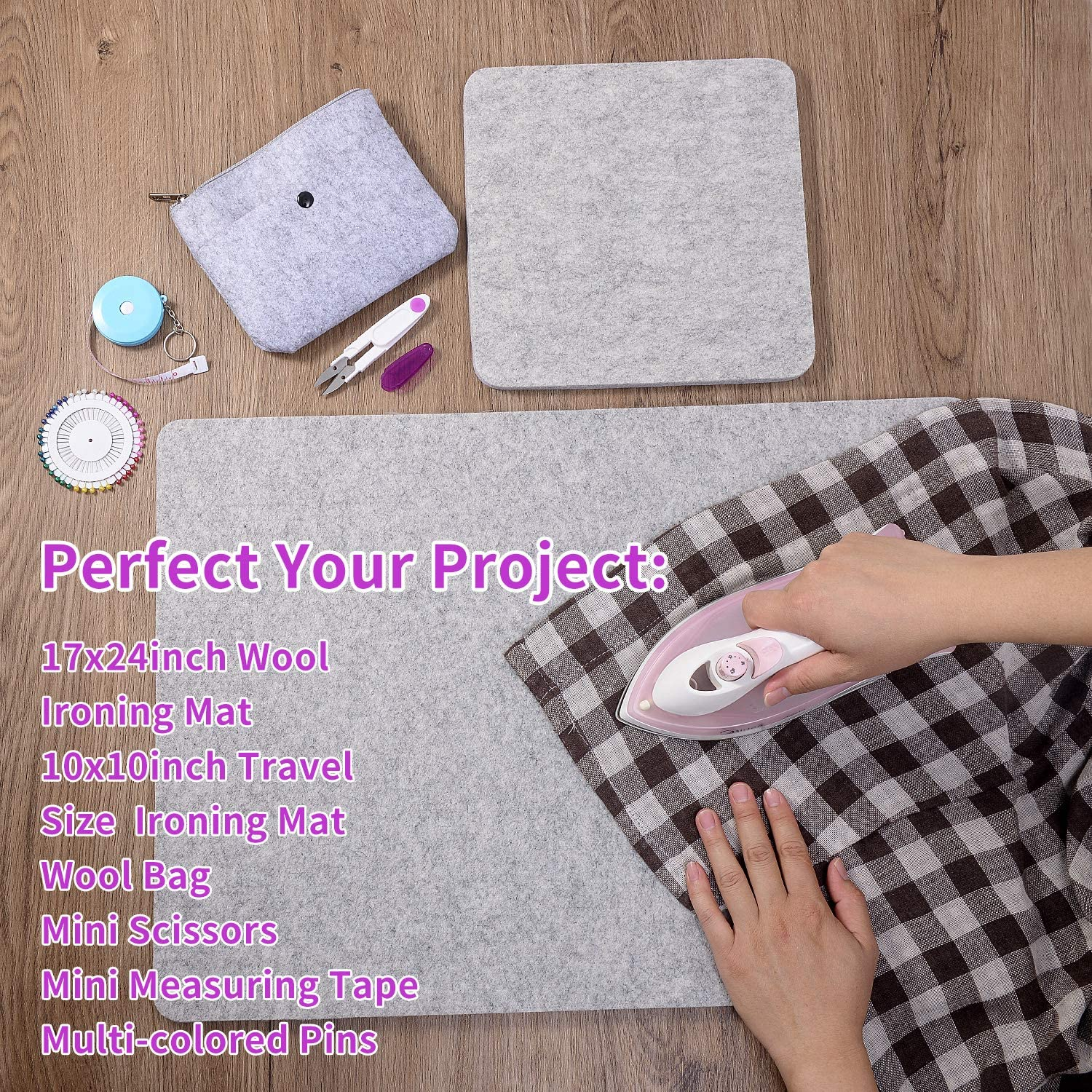 Tape,Felt Storage Pouch Case and 40Pcs Sewing Pins Rdutuok 17 X 24 Wool Pressing Mat for Quilting Large Size /& 10 X 10 Portable Size 100/% Wool Ironing Pad with Scissors