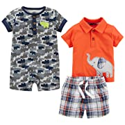 Simple Joys by Carter's Baby Boys' 3-Piece Playwear Set, Red Plaid Elephant, 6-9 Months