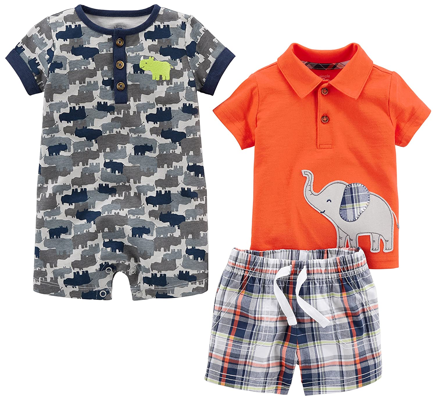 Shorts Private Label 3PCPWSET-1 and Shirt Carter/'s Simple Joys Simple Joys by Carters Baby Boys 3-Piece Fleece Playwear Set-Romper