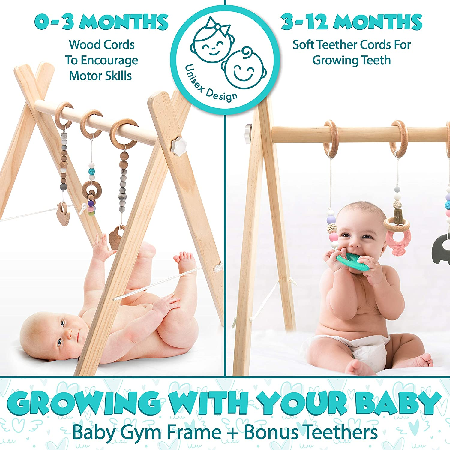 Newborn and Infant Activity Center for 0-1.5 Years 6 Hanging Gym Toys Gender Neutral Unique and Beautiful Style Wooden Baby Gym Mobile Foldable Perfect Baby Shower Gift Non-Toxic Organic