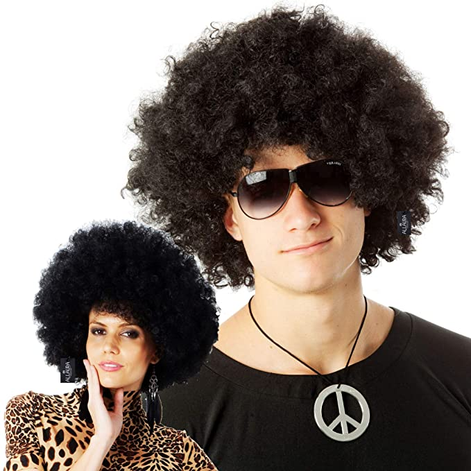 DELUXE BROWN AFRO 1970S DISCO WIG ADULT MENS WOMENS COSTUME ACCESSORY
