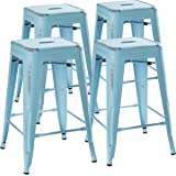 24 Inch Stool Set of 4 by Urban Mod – Distressed Pale Blue Rustic Barstools with 330lb Capacity – Counter Stools Height Bar Chairs for Indoor/Outdoor Use – Industrial Bar Stools, Metal Bar Stools
