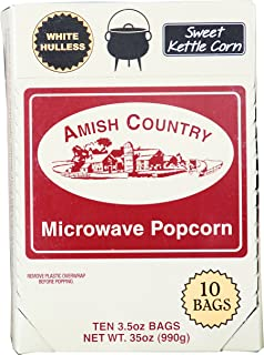 product image for Amish Country Popcorn | Old Fashioned Microwave Popcorn | Old Fashioned with Recipe Guide (Sweet Kettle White Hulless, 10 Bags)