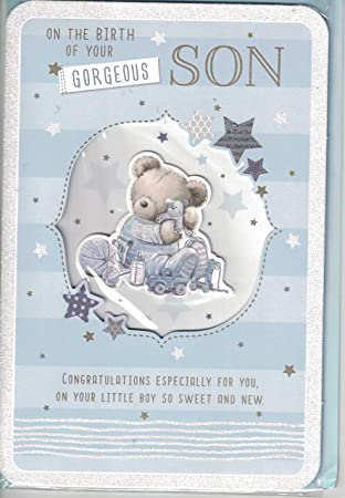 Prelude New Baby Boy Card ~ Congratulations On The Birth Of Your Gorgeous  Son ~ Lovely Quality New Baby Bear & Balloons Card.: Amazon.co.uk: Toys &  Games