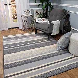 Area Rug 3x5 Gray Stripes Kitchen Rugs and mats | Rubber Backed Non Skid Rug Living Room Bathroom Nursery Home Decor Under Door Entryway Floor Non Slip Washable | Made in Europe