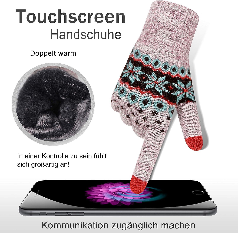 VENI MASEE Winter-Touchscreen Handschuhe Warm Thermische weiche Futter elastische Manschette f/ür Frauen und M/änner