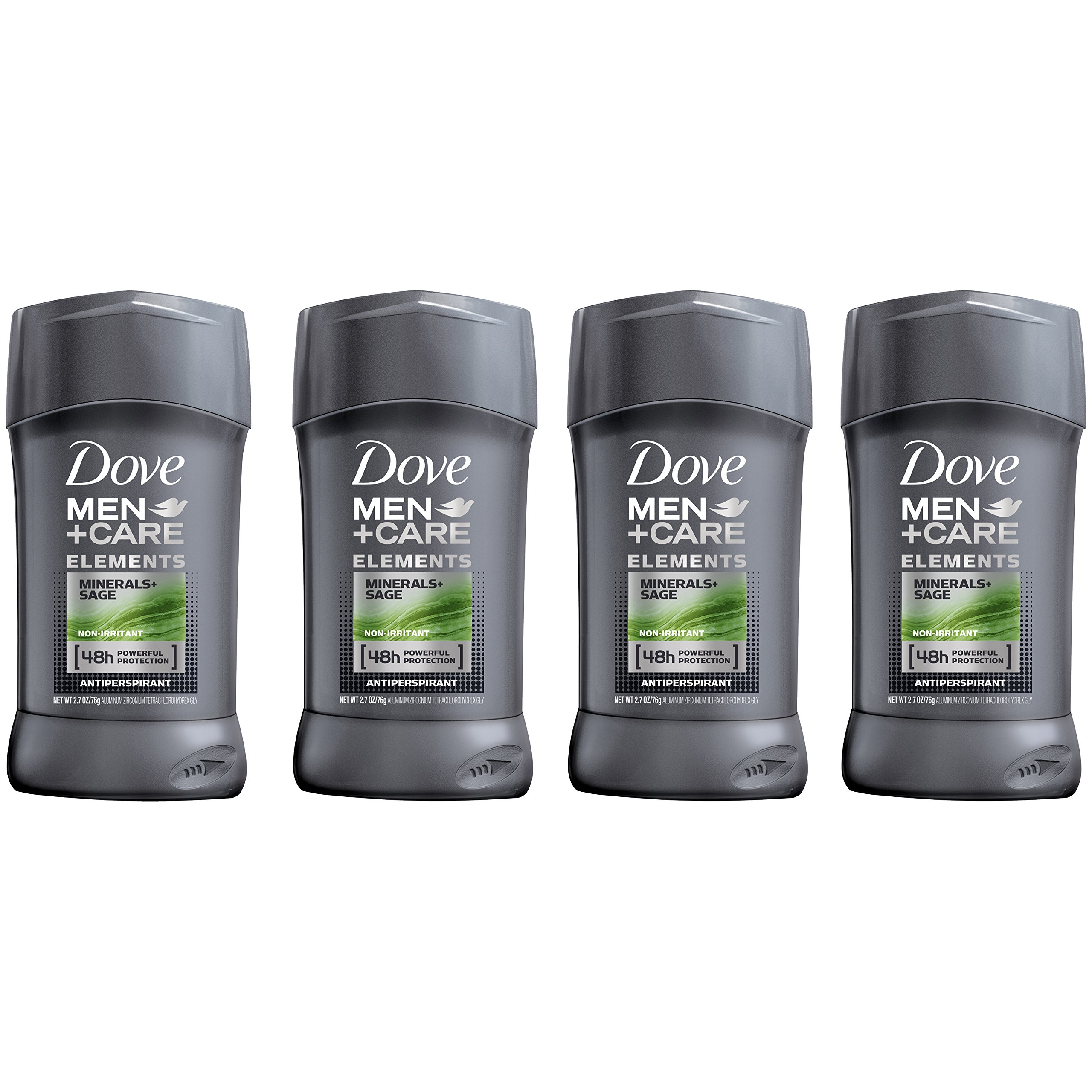 Dove Men+Care Elements Antiperspirant Deodorant Stick, Minerals + Sage 2.7 oz, (Pack Of 4)