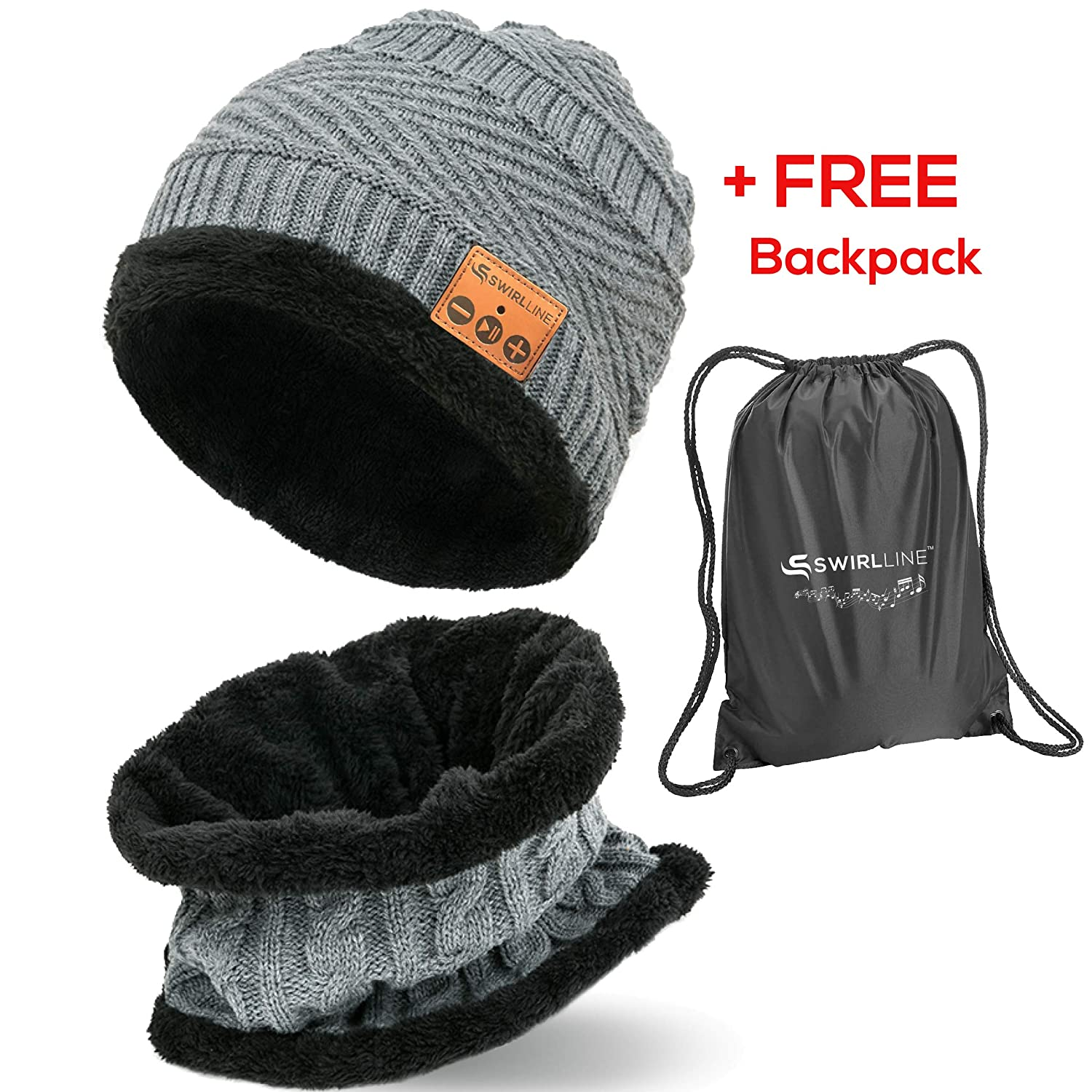 cdf906e2a9b Amazon.com  Wireless Beanie - Wireless Headphones Hat and Scarf Set for  Winter Outdoor Men Women Warm Knitted Music Hat With Backpack - Built-in  Microphone  ...