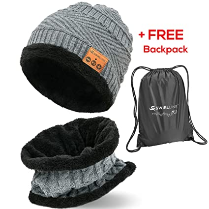 Amazon.com  Wireless Beanie - Wireless Headphones Hat and Scarf Set ... 77fb742519f6
