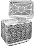 """Aluminum Foil Grill Drip Pans - Bulk Package of Durable Cooking Trays – Disposable BBQ Grease Pans – Made in USA - Great for Baking, Roasting, and Cooking - Standard Size 8.5"""" x 6"""" Inch (25)"""