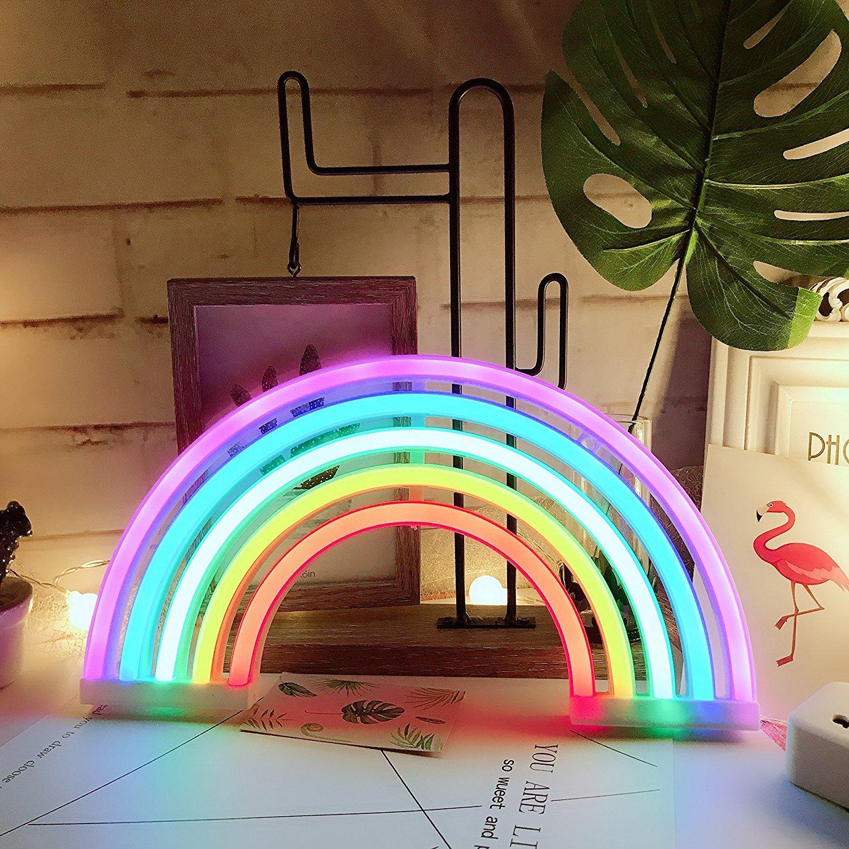 AIZESI Rainbow Neon Lights,Rainbow Christmas Lights, Neon Wall Light Battery Operated/USB for Bedroom,Desk,Bar, Birthday Party,Living Room,Girl Room, Wedding Bathroom Party Festival Decorations