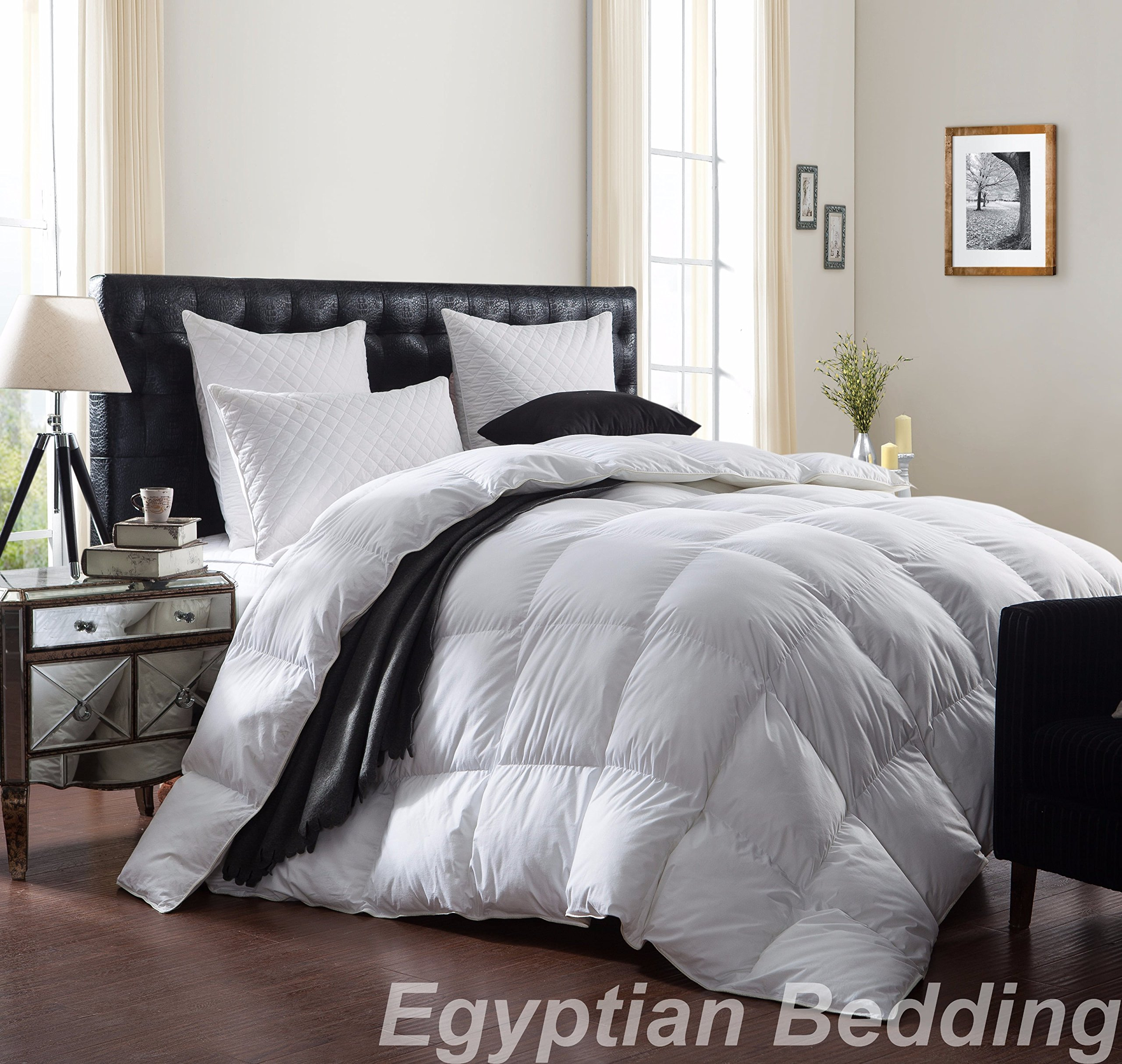 LUXURIOUS 1200 Thread Count GOOSE DOWN Comforter , Queen Size, 1200TC - 100% Egyptian Cotton Cover, 750 Fill Power, 50 Oz Fill Weight, White Color by Egyptian Bedding by Egyptian Bedding