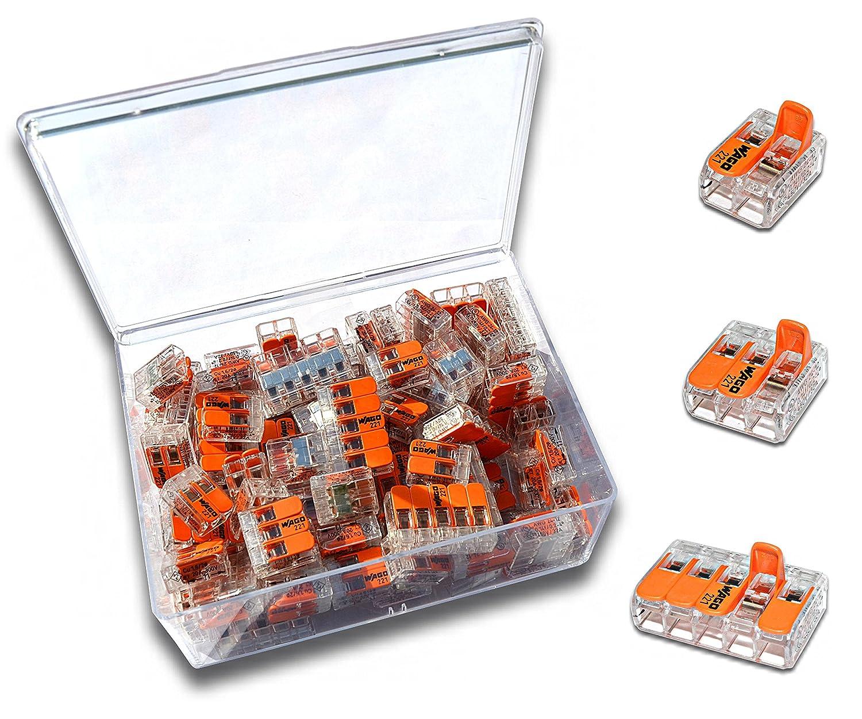 WAGO Klemme (80 Stü ck) Set Sortiment Serie Compact 221-412 | 221-413 | 221-415 in praktischer Klarsichtdose hotPLAY24 / Wago