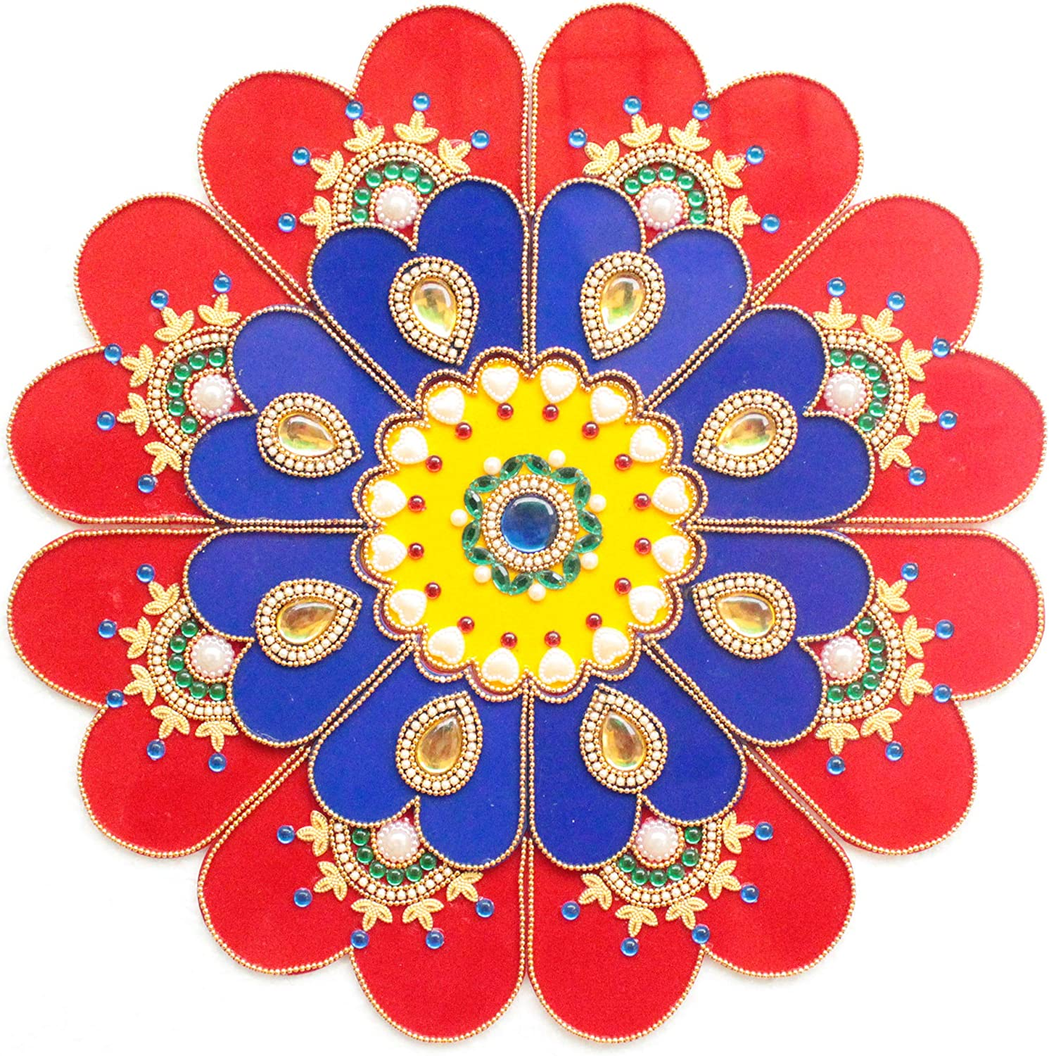 9 Piece Floor/Wall/Table Decor Accents - Acrylic Handmade Mandala Rangoli Home Decorations