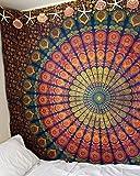 Marubhumi® indiano Hippie Arazzo cotone Boho Hippie spiaggia Arcobaleno, Copriletto, Tenda da appendere alla parete, Bohemian Wall Hanging, 215x 235cm