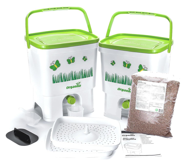 Duo Set Bokashi Organico con terriccio naturale - Biogen per la separazione dei rifiuti organici (Grigio / Verde) Plastika Skaza d.o.o. 4335523828