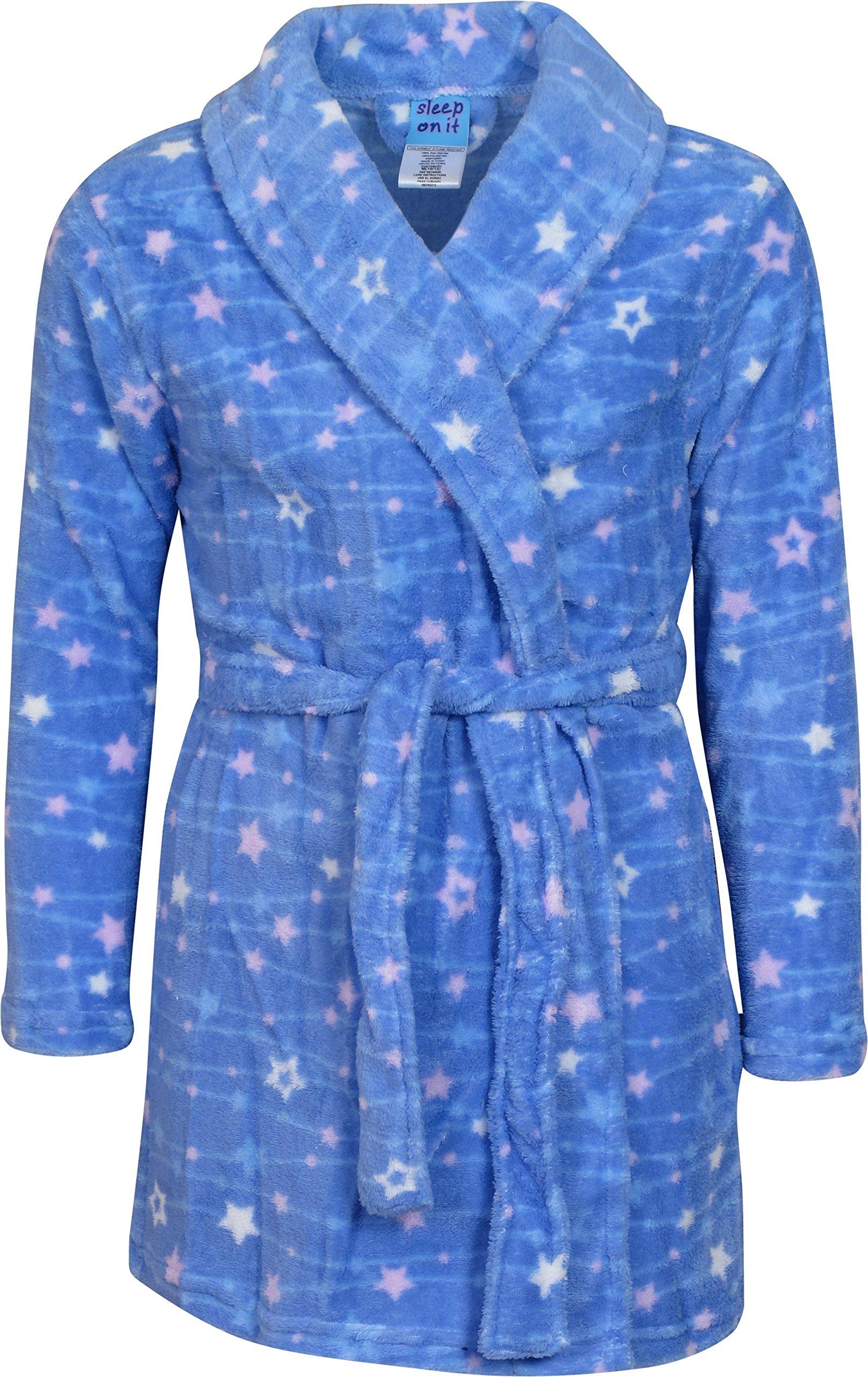 Sleep On It Girl's Coral Fleece Printed Medium Length Robe, Multi Stars, Size 7/8