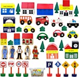 50 Piece Wooden Modern Town Train Set With Accessories Comes In A Clear Container  sc 1 st  Amazon.com & Amazon.com: KidKraft Airport Express Espresso Table and Set: Toys ...
