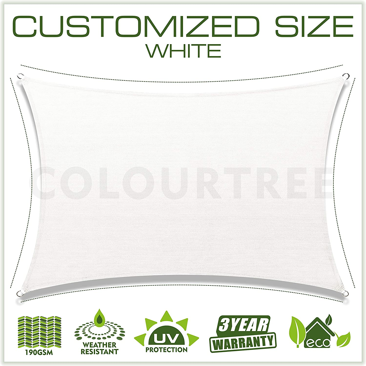ColourTree Customized Size 12 x 16 White Sun Shade Sail Canopy UV Block Rectangle – Commercial Standard Heavy Duty – 190 GSM – 3 Years Warranty