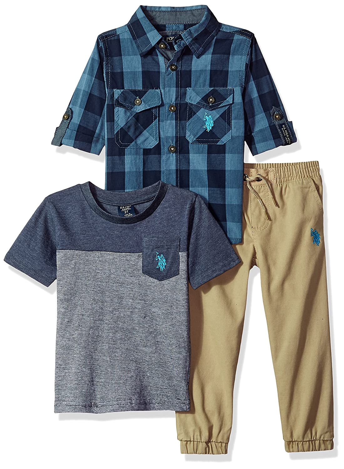 Polo Assn Boys Toddler Long Sleeve T-Shirt and Pant Set U.S