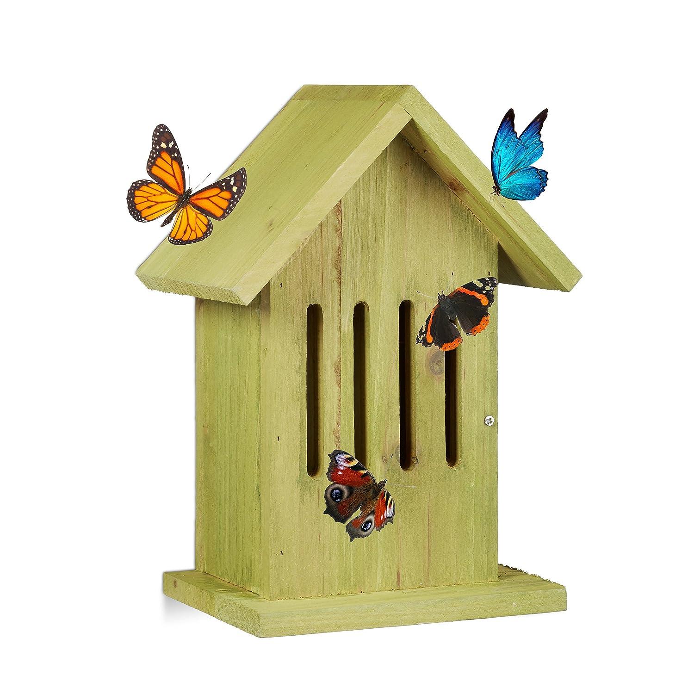 Relaxdays Abri à Papillons à Suspendre Coloré Jardin Balcon nichoire Refuge HxlxP: 25,5 x 18,5 x 12 cm, Turquoise 10020741_56