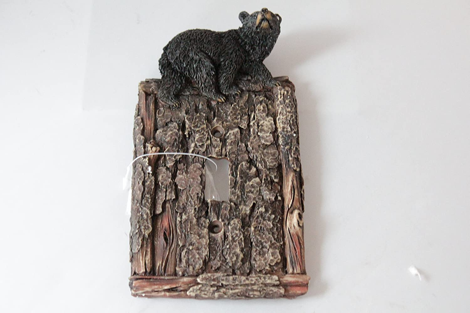 Black Bear Switch Plate Covers Electric Outlet Cover Faux Wood Look Cabin Decor (Single Switch)