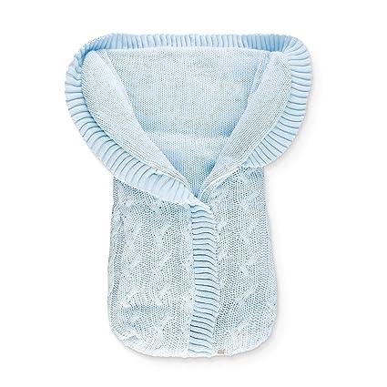 Saco Abrigo de Punto para Capazo del Bebé - Trenzas Celeste