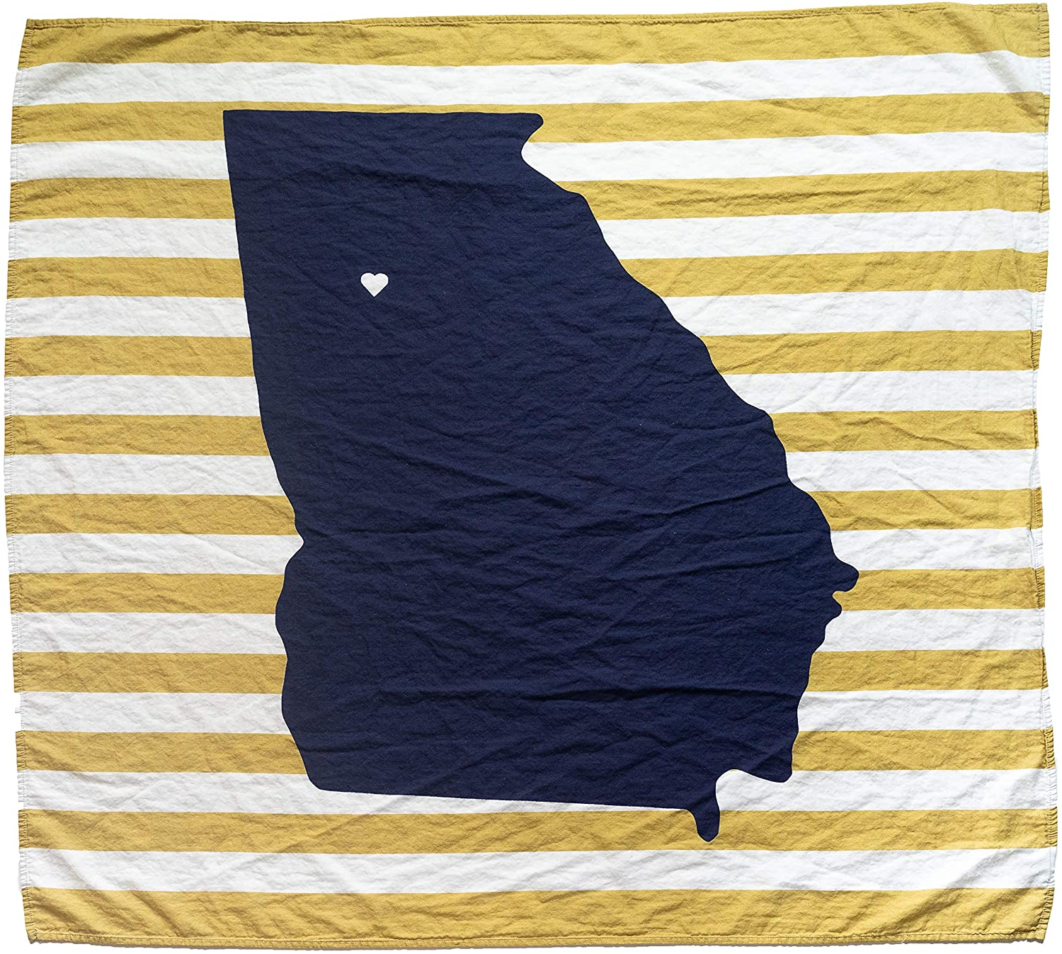 "Twig & Bale Organic Cotton Muslin Swaddle Blanket - Atlanta, Fans of Ga Tech Baby Blanket - 47"" x 43"" - Fans of Georgia Tech Yellow Jackets Baby Gift - Soft Muslin Baby Blanket for Boys and Girls"