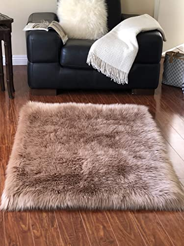 Lambzy Faux Sheepskin Classic Square Area Rug Plush Fur Premium Shag 3 x5 , Camel