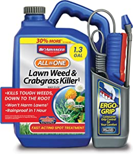 BioAdvanced 704138A All-in-One Lawn Weed and Crabgrass Killer, 1.3-Gallon, Ready-to-Use Battery Powered Sprayer