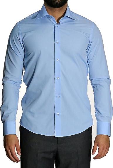 mmuga Extra Manga Larga Camisa de Hombre, Slim-Fit/Entallado, Azul Medio, Tallas S – 5 x l: Amazon.es: Ropa y accesorios