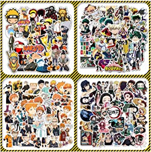 200 Pcs Anime Stickers Mixed Pack [2021 New] JIOKIA Waterproof Naruto Stickers My Hero Academia Stickers Haikyuu Stickers Demon Slayer Skateboard Laptop Stickers for Teens Luggage Decal (4 in 1)…