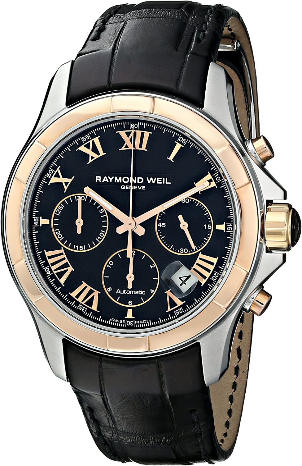Raymond Weil Men s 7260-SC5-00208 Parsifal Stainless Steel Watch With Black Faux-Leather Band