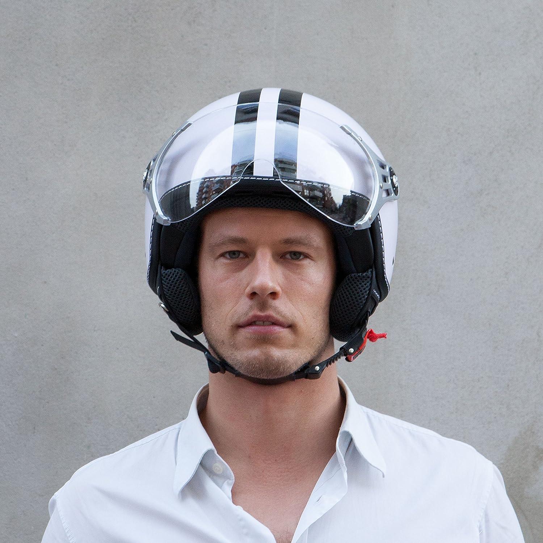 Roller Jet Helm mit Streifen , Amsterdam 55-56 cm Motorradhelm mit Visier in Gr ECE zertifiziert S Vinz Rollerhelm Jethelm Fashionhelm S-XL
