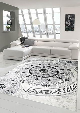 Tapis Contemporain Design Tapis Oriental avec Tapis Glitzergarn Salon avec  des Ornements circulaires orientaux Classiques dans la crème Gris Noir ...