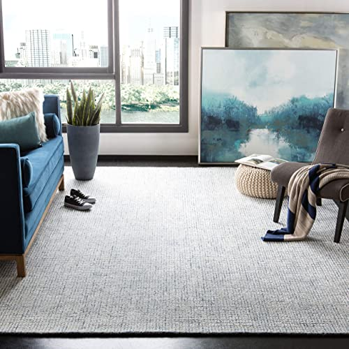 Safavieh ABT470M-8 Abstract Collection ABT470M Ivory and Blue Premium Wool 8' x 10' Area Rug