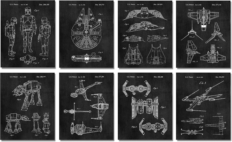Star Wars Gifts Under 20 - Set of 8 Wall Art Prints (8x10) for Men Boys Women Bathroom Bedroom Room Decor - Reinterpreted Starwars Decorations Retro Home Chalkboard Look