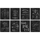 Star Vessels Gifts Under 20 - Set of 8 Wall Art Prints (8x10) for Men Boys Women Bathroom Bedroom Room Decor Movie Sci Fi War