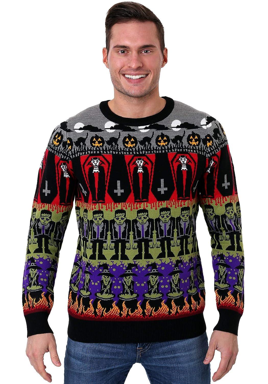 FUN Wear Adult Classic Horror Monsters Fair Isle Halloween Sweater