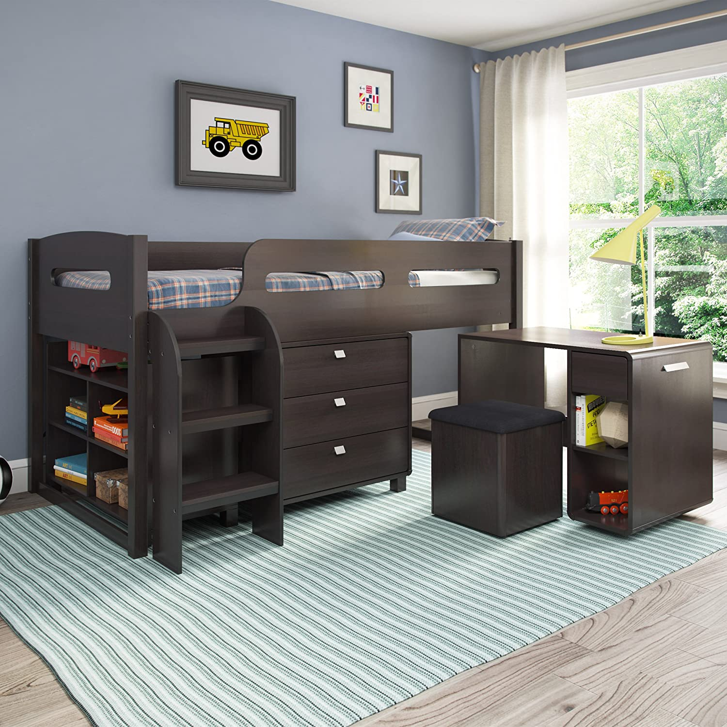 Amazon.com: CorLiving BMG-270-B 5-Piece Madison All-in-One Loft Bed ...