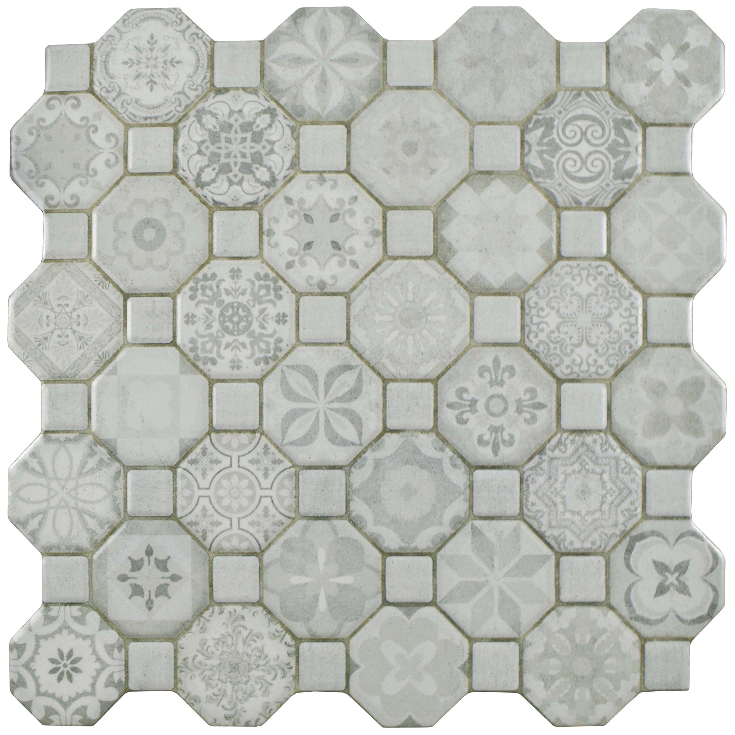 SomerTile FOSTESWT Abacu Ceramic Floor & Wall Tile, 12.25'' x 12.25'', White, White, Grey